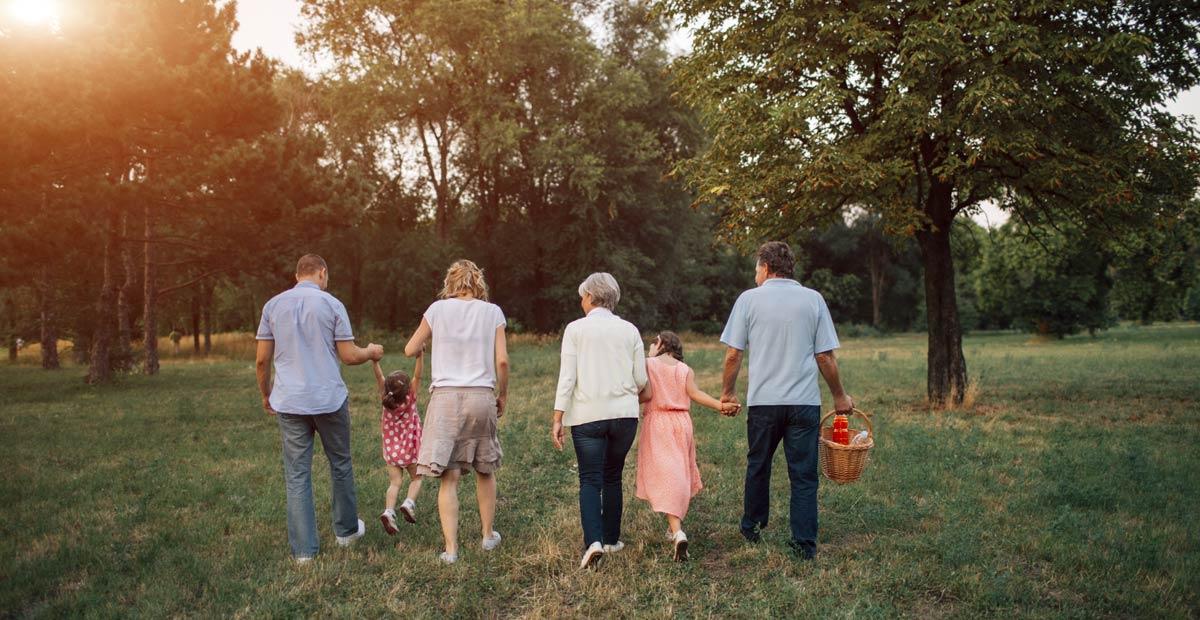 intergenerational group walking