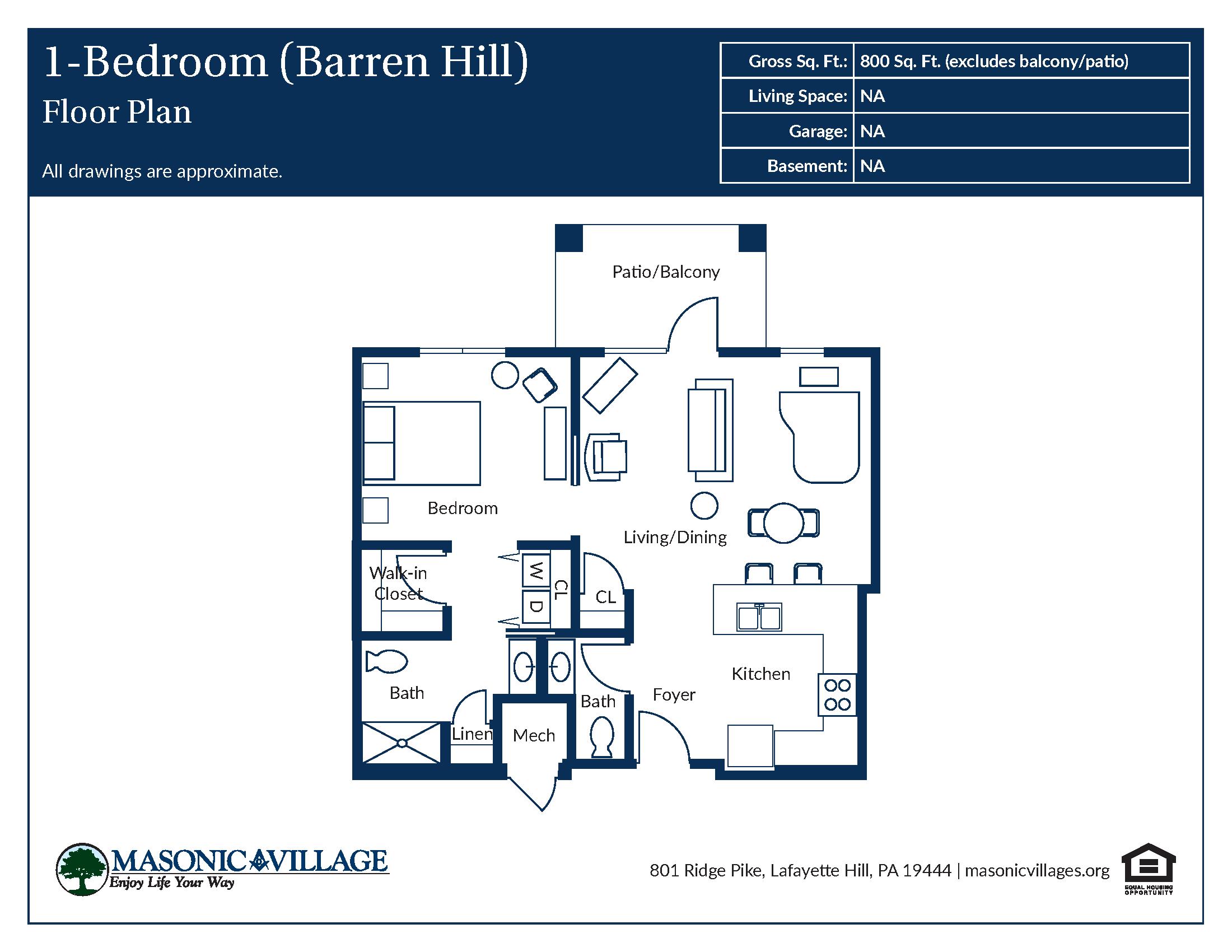 Floor Plan for Barren Hill 1 Bedroom Apartment