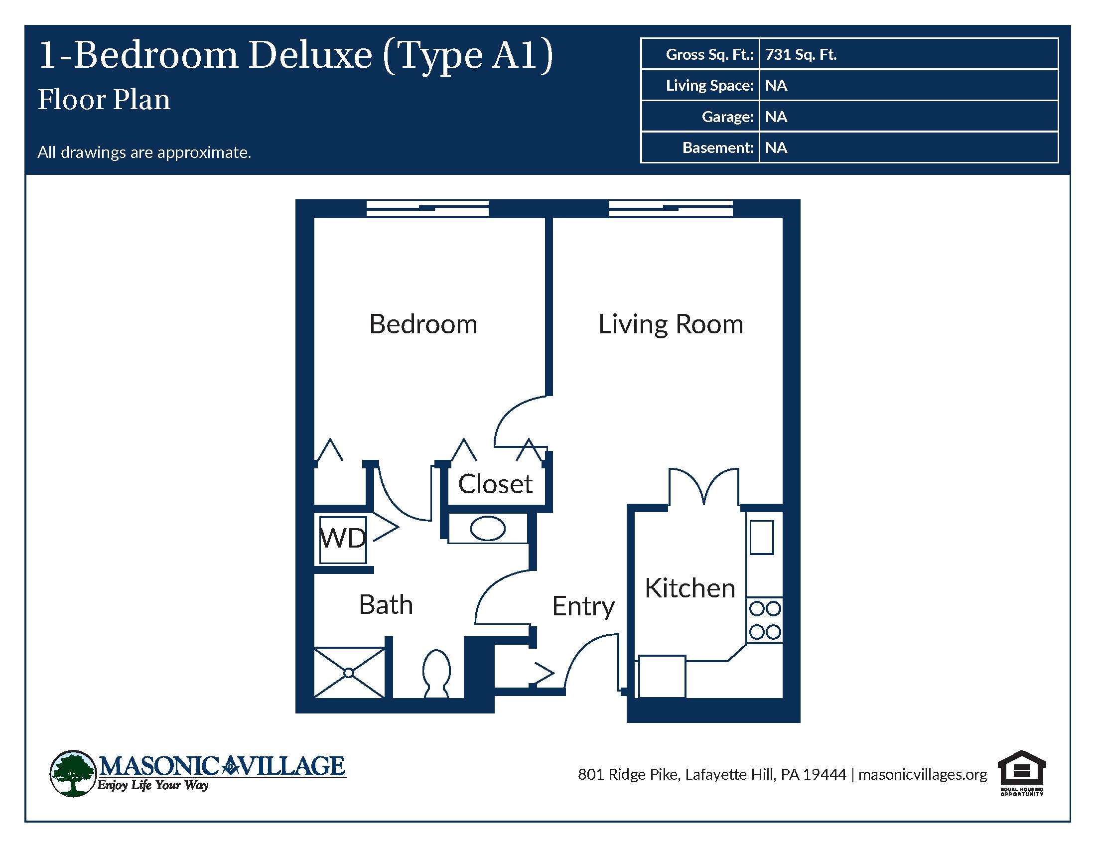 Apartment Type A1 1 Bedroom Floor Plan
