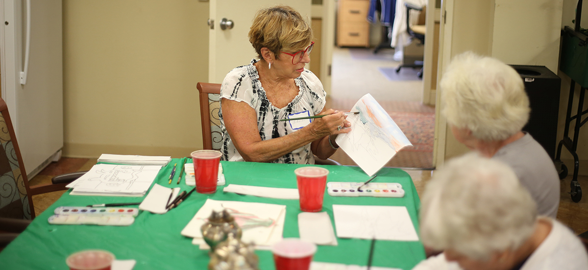 Watercolor painting class with residents