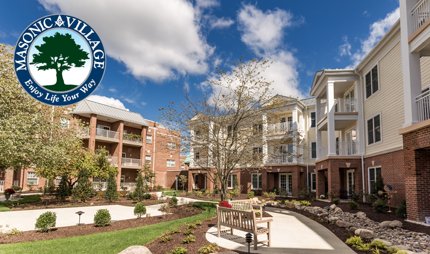 Exterior photo of courtyard at Masonic Village at Lafayette Hill